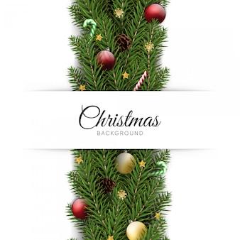 Realistische kerstmis en nieuwjaarachtergrond