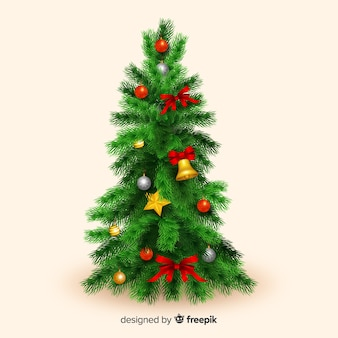 Realistische kerstmis met lichten
