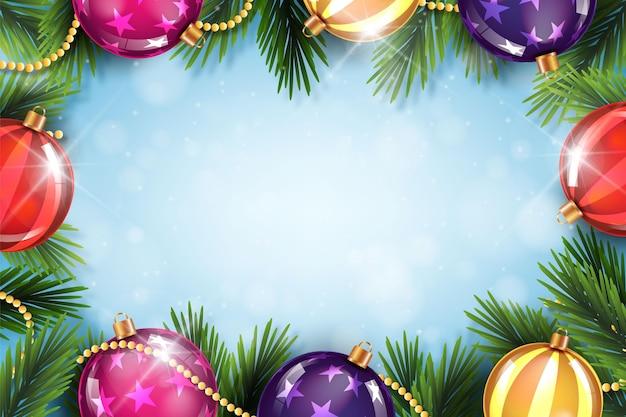 Realistische kerstmisachtergrond met bollen