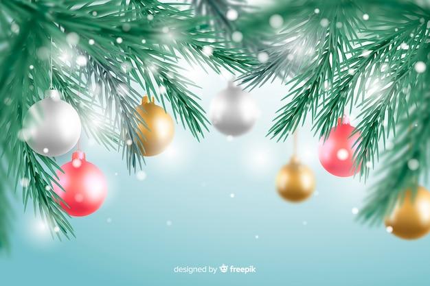 Realistische kerstmisachtergrond met decoratie