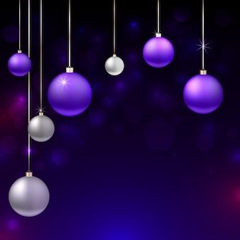 Realistische kerstmisachtergrond met ornamenten