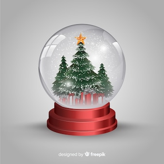 Realistische kerstmissneeuwbal