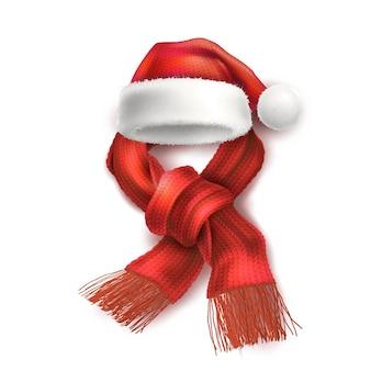 Realistische kerstmuts met gebreide sjaalsymbolen