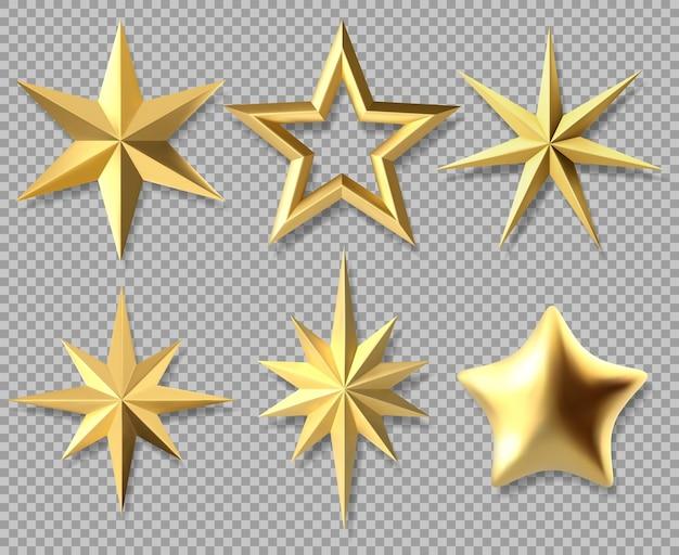 Realistische kerststerren. gouden xmas glanzende 3d-sterren, award decoratieve symbool geïsoleerde vector illustratie set. gouden kerstster iconen. gouden ster kerst tot decoratie, vorm van geel