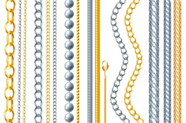 Realistische ketting goud zilver set geïsoleerde achtergrond van verschillende gouden sieraden goederen