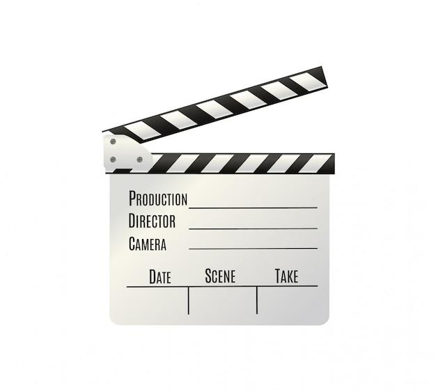Realistische klepel. cinema board op een witte achtergrond.