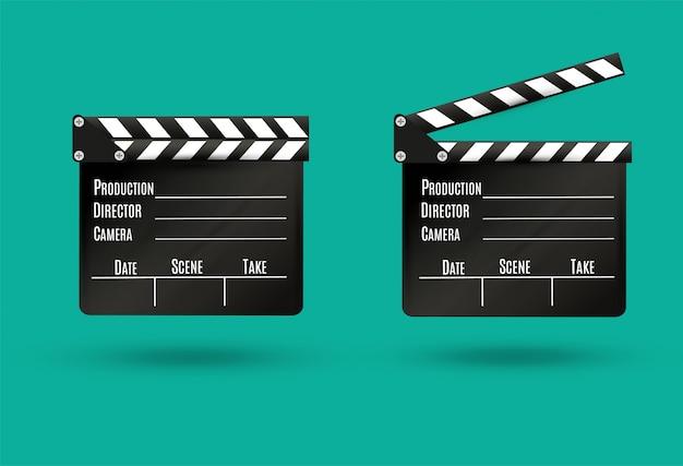 Realistische klepel. cinema. boord op een witte achtergrond. film. tijd. illustratie.