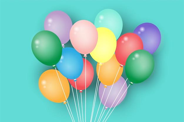 Realistische kleuren glanzende ballonnen met partij