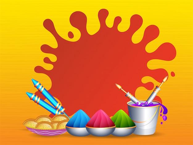 Realistische kleurenemmer met kommen, waterpistool, indiase zoete en rode spatten kleur op geel.