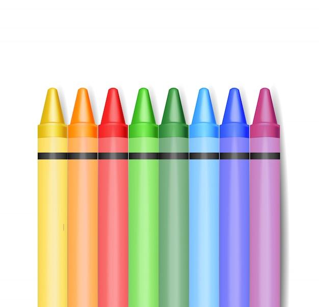 Realistische kleurpotloden, kleurpotloden, terug naar school, schoolbanner, illustratie