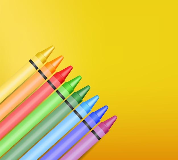 Realistische kleurpotloden, prachtige kleuren, kleurpotloden, terug naar school, schoolbanner,