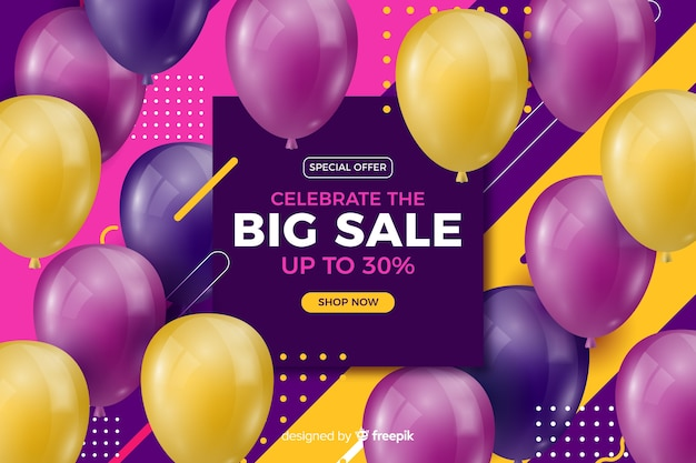 Realistische kleurrijke ballonnen verkoop achtergrond met tekst