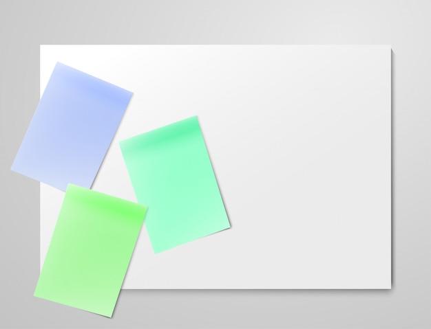 Realistische kleurrijke blanco vellen op lichtgrijs bord. kanban-taakbord voor agile scrumbeheer