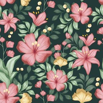 Realistische kleurrijke bloemen naadloos