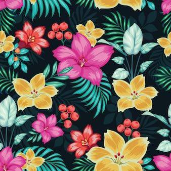 Realistische kleurrijke bloemen naadloos Premium Vector