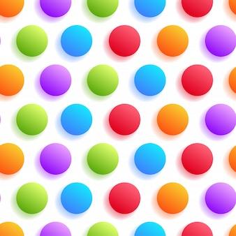 Realistische kleurrijke cirkel met schaduw naadloos patroon op witte achtergrond