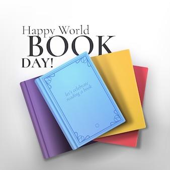 Realistische kleurrijke compositie van boeken