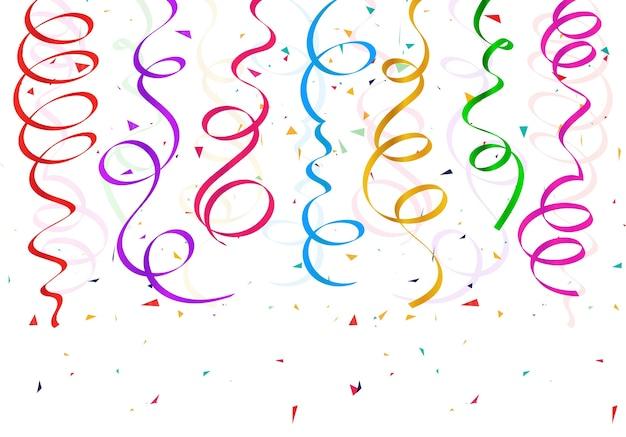 Realistische kleurrijke confetti linten decorontwerp
