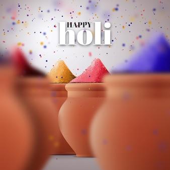 Realistische kleurrijke holi gulal illustratie