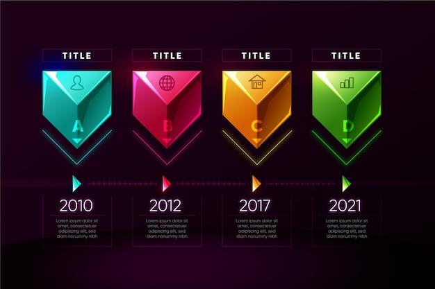 Realistische kleurrijke infographic sjabloon met tijdlijn