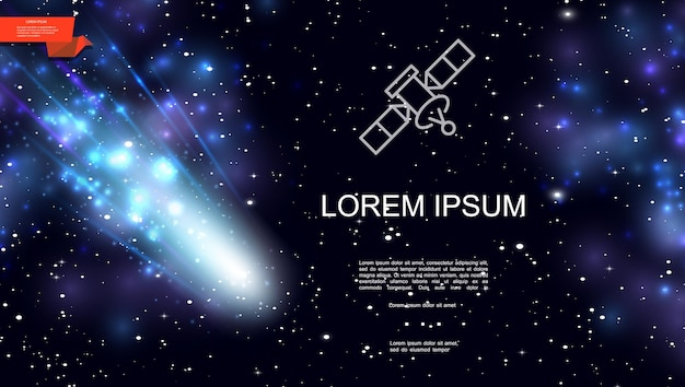 Realistische kleurrijke kosmische ruimteachtergrond met vallende komeetsterren en blauwe nevel