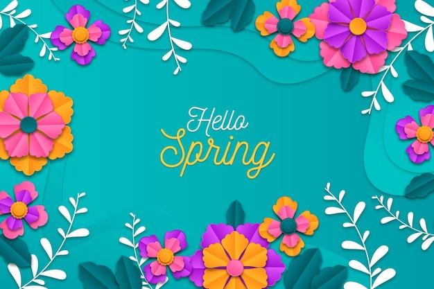 Realistische kleurrijke lente achtergrond in papierstijl