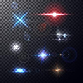 Realistische kleurrijke lichtsterke lens flakkert stralen en flitsen op transparante achtergrond.
