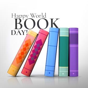 Realistische kleurrijke opstelling van boeken