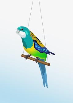 Realistische kleurrijke papegaai zit op de stok