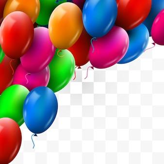 Realistische kleurrijke stelletje verjaardagsballons vliegen voor feest en feesten transparante achtergrond Premium Vector