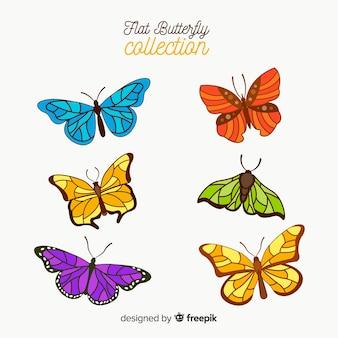 Realistische kleurrijke vlinderinzameling