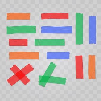 Realistische kleurrijke zelfklevende plastic tape instellen