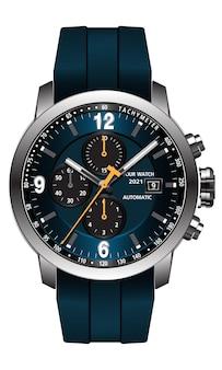 Realistische klok horloge blauw grijs gezicht gele pijl wit nummer op metalen en rubberen band