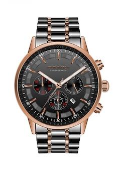 Realistische klokhorloge chronograaf zwart staal koper luxe