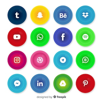 Realistische knoppen met social media logo-collectie