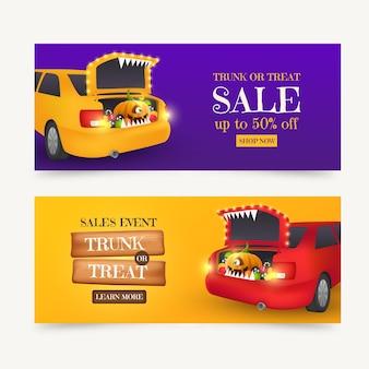 Realistische kofferbak of traktatie verkoop horizontale banners set