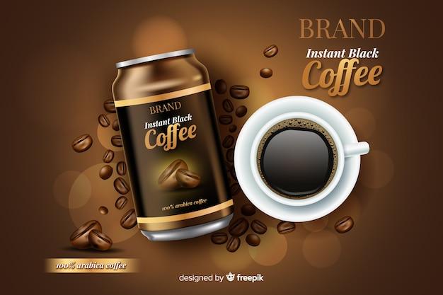 Realistische koffie advertentie