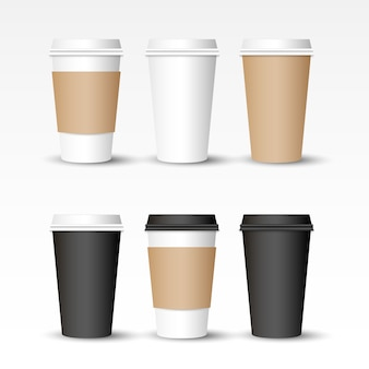 Realistische koffie cappuccino take away cup of to go cup set,