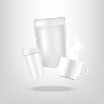 Realistische koffie, kartonnen verpakking zak en beker voor voedsel en drank product verpakking achtergrond
