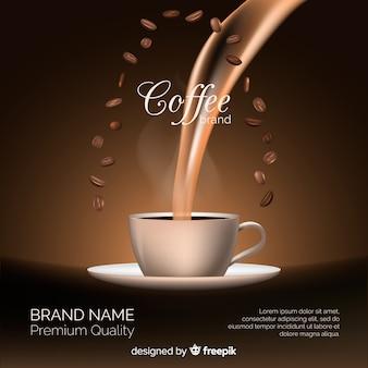 Realistische koffie merk achtergrond