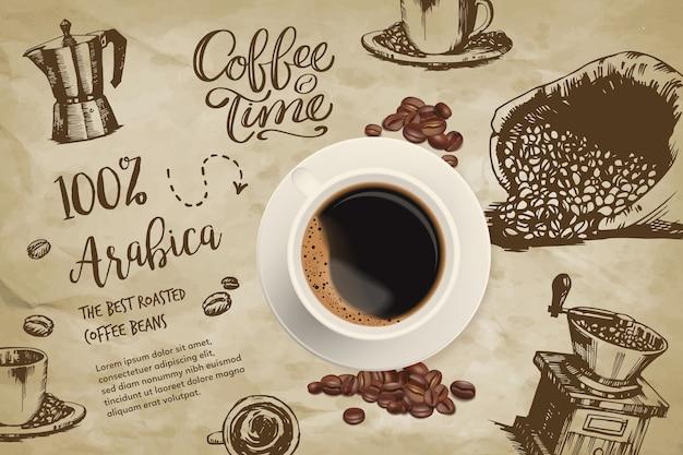Realistische koffieachtergrond met tekeningen
