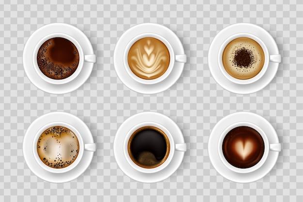 Realistische koffiekop met warme drank in verschillende kleuren. koffiekopje bovenaan.