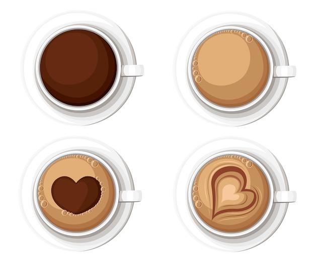 Realistische koffiekopjes met americano latte espresso macchiatto mocha cappuccino. illustratie website-pagina en mobiele app-element