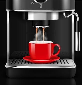 Realistische koffiemachine met rode cu