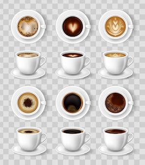 Realistische koffiemok. 3d cappuccino, americano, espresso, mokka latte cacao
