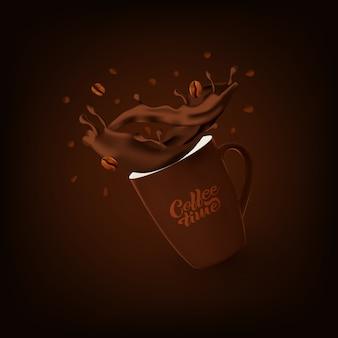 Realistische koffiemok met splash en bonen.