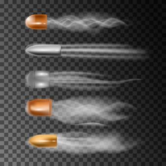Realistische kogel vliegt. rooksporen geïsoleerd op transparant.