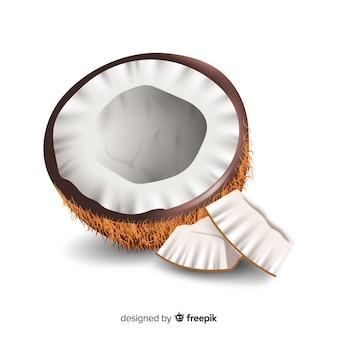 Realistische kokosnoot achtergrond