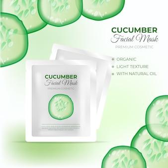 Realistische komkommerbladmaskeradvertentie