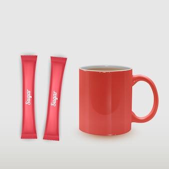 Realistische kop thee en verpakkingsstokje met suiker